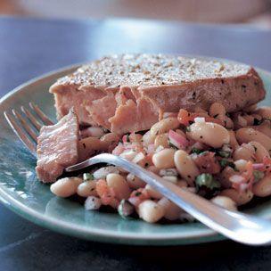Seared Ahi Tuna with Warm White Bean Salad | Williams-Sonoma