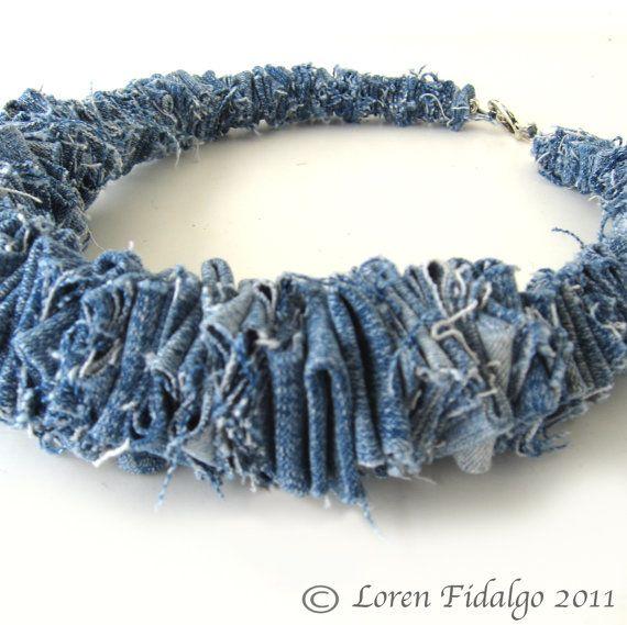 Denim Necklace Jean Fabric Necklace Fiber by dabblingdelights