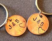 2 Personalized Penny Keychains, Anniversary Gift, 7 Year, VALENTINES gift, Boyfriend Girlfriend Gift,Customized Couples Keychains, gift,