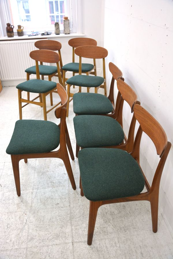 another completed project of 8 chairs re-upholstered in dark green felt.