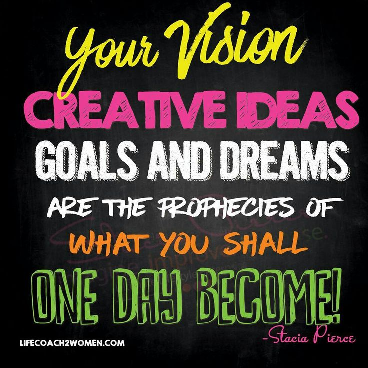 Your Vision, Creative Ideas,Goals, and Dreams are the Prophecies of what you shall one day become!