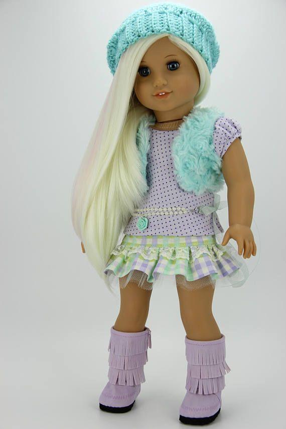 Handmade 18 inch doll clothes  Aqua and lavender 5 piece fur