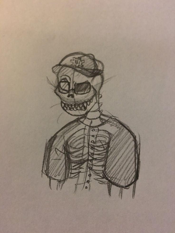 @Monkey's OC Freddie. I've never really drawn a realistic skeleton, so sorry if the anatomy looks kinda wonky.// Art by @Averrrzzzzz