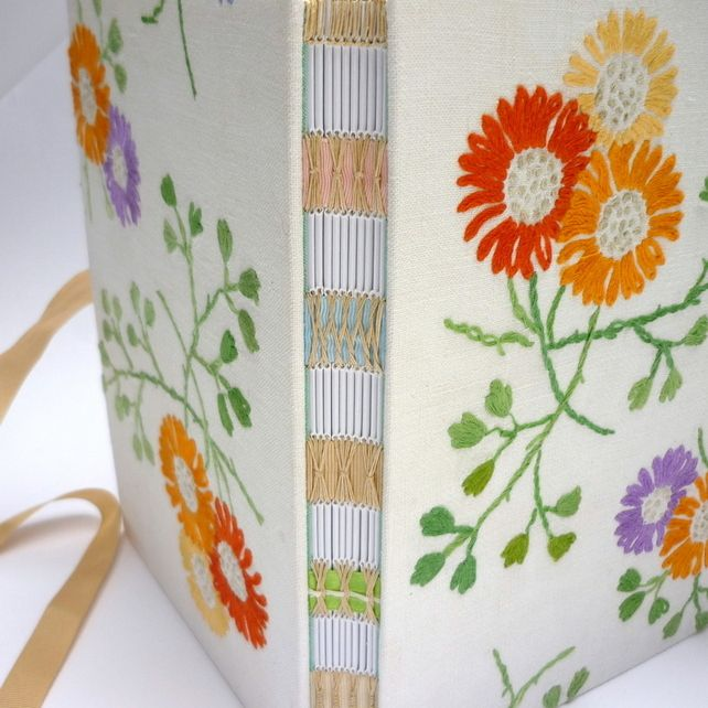 Vintage Embroidered Journal - A5  - handmade by Kate Bowles