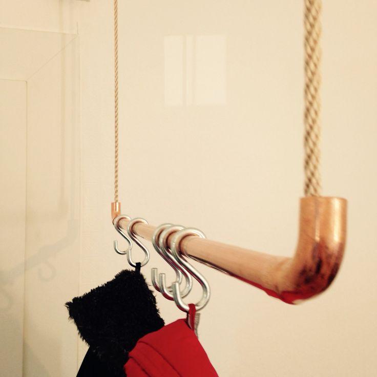Garderobe DIY aus Kupferrohr und Seil