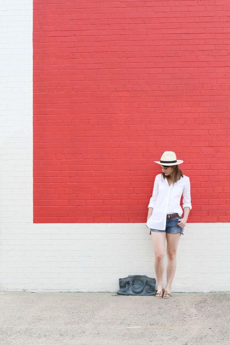 White Button Up Shirt and Jean Shorts and Balenciaga Work