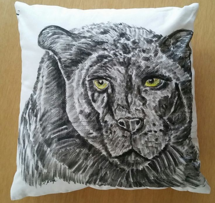 Panther - hand-drawn cushion - Mummy Cuggles