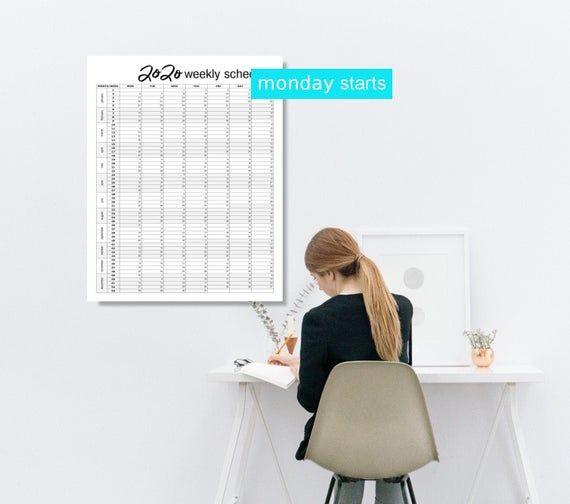 2020 Large Wall Calendar Monday Starts Digital Download