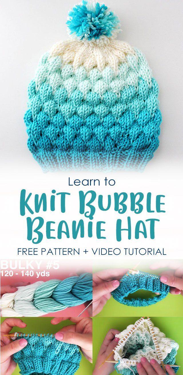Learn To Knit Bubble Beanie Hat Pattern Video Tutorial Beanie Hat Pattern Easy Knitting Patterns Free Knitting Patterns Free Beginner