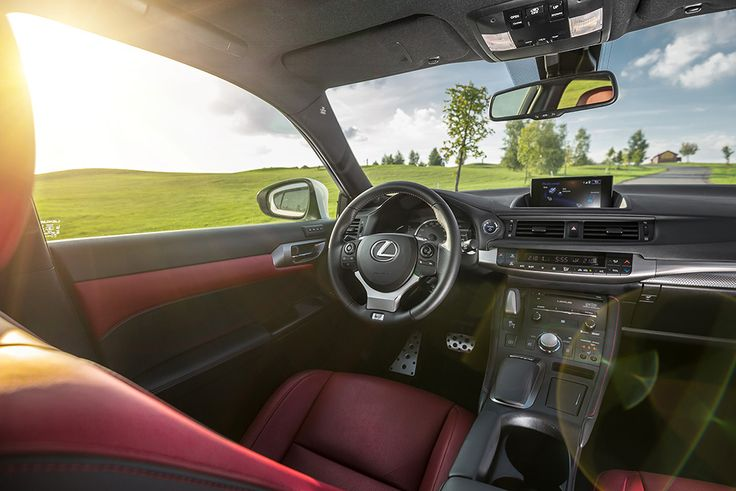 Lexus CT200h F sport interior with red leather #lexus #ct200h #interior see more pics of Lexus: http://premiummoto.pl/01/28/lexus-ct200h-f-sport-nasza-sesja