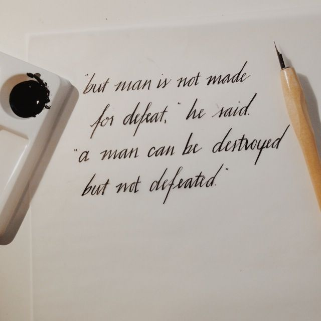 Quote From The Old Man And The Sea By Ernest Hemingway Calligraphy