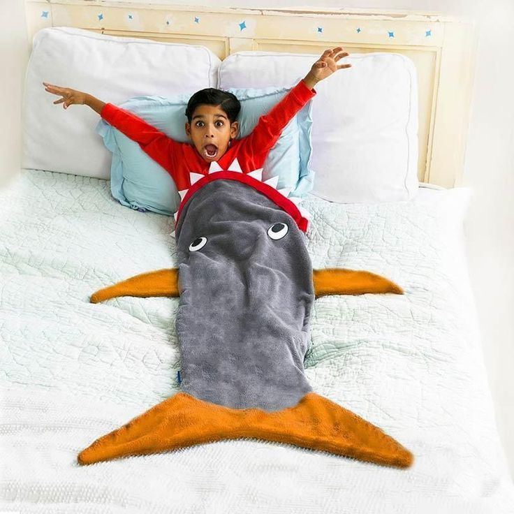 Shark blanket for kids is JAW-some fun! Feet fit all the way into the fins with this cool design. Premium quality. Free shipping $50+ & 30-day guarantee