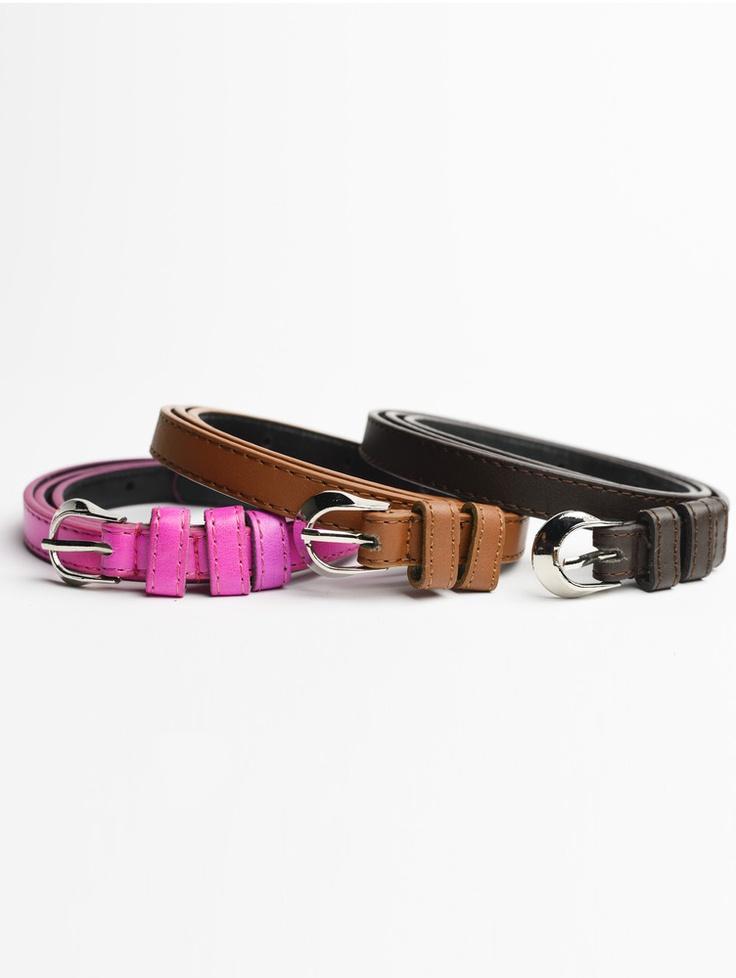 Tripe Buckle Skinny Belt in Pink, Brown & Dark Brown.    Shop now at www.jolietta.com