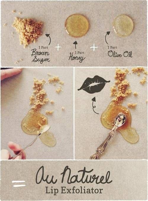 Natural lip exfoliator - 1part Brown Sugar + 1part honey + 1part olive oil..  :)