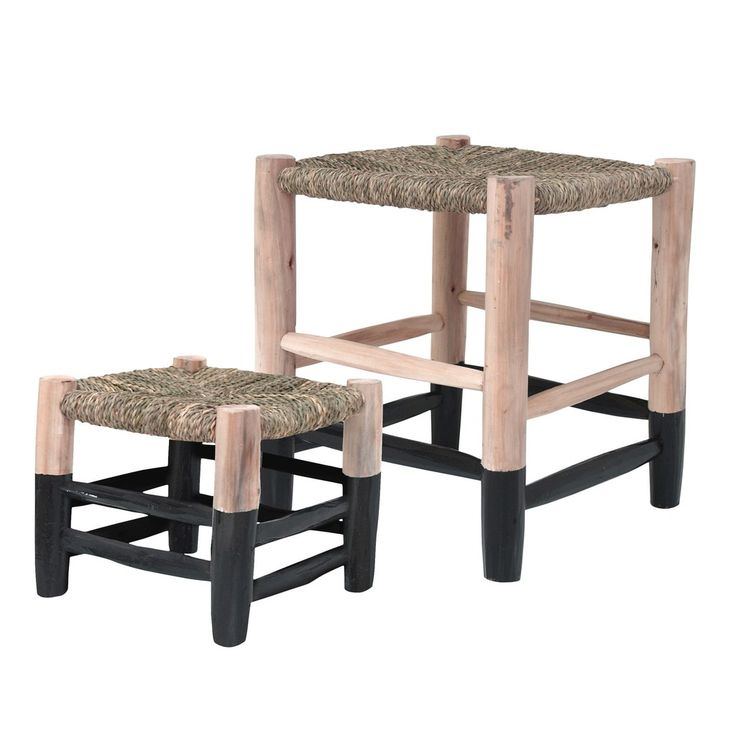 This beautiful range of stools is made of eucalyptus wood and hand braided seagrass seating. Available in small and large sizes with either white or black sipped legs. Perfect as a footstool, for kids or even as a side table.