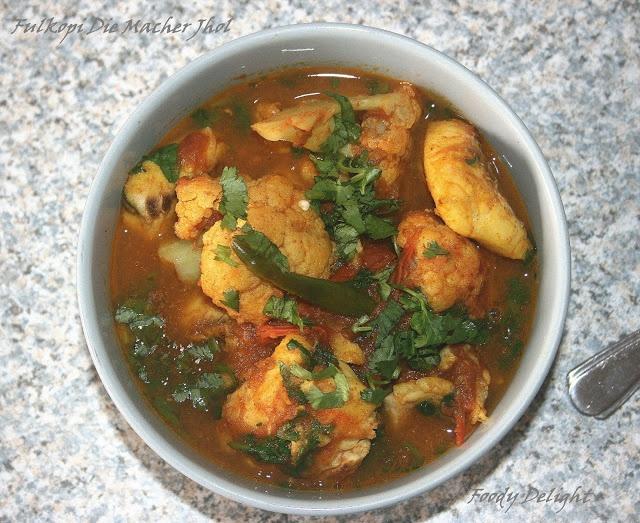 Fulkopi Macher Jhol- Bengali style fish curry with cauliflower