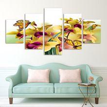 Moda 5 panel sıcak modern duvar boyama sarı çiçekler soyut ev wall art resim kanvas baskılar sanat orkide(China (Mainland))