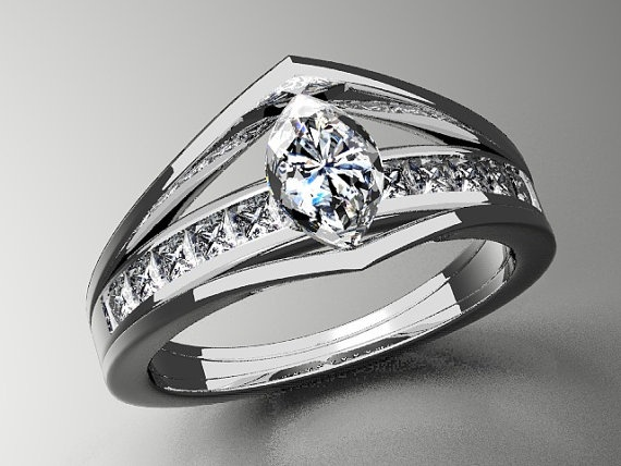 14K White Gold Cathedral Style Marquise Center