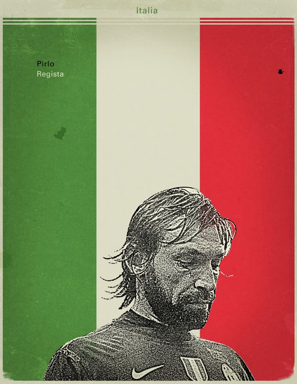 World Cup 2014 - Each Country's Fan Favourite by Jon Rogers, via Behance #soccer #poster #pirlo