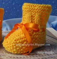 Magia do Crochet: Receita base das botinhas em tricot para recém nascido
