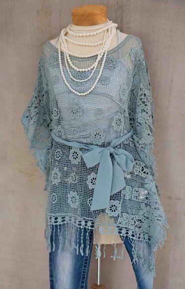 Women's Dusty Blue Fringe Tunic Now in Stock