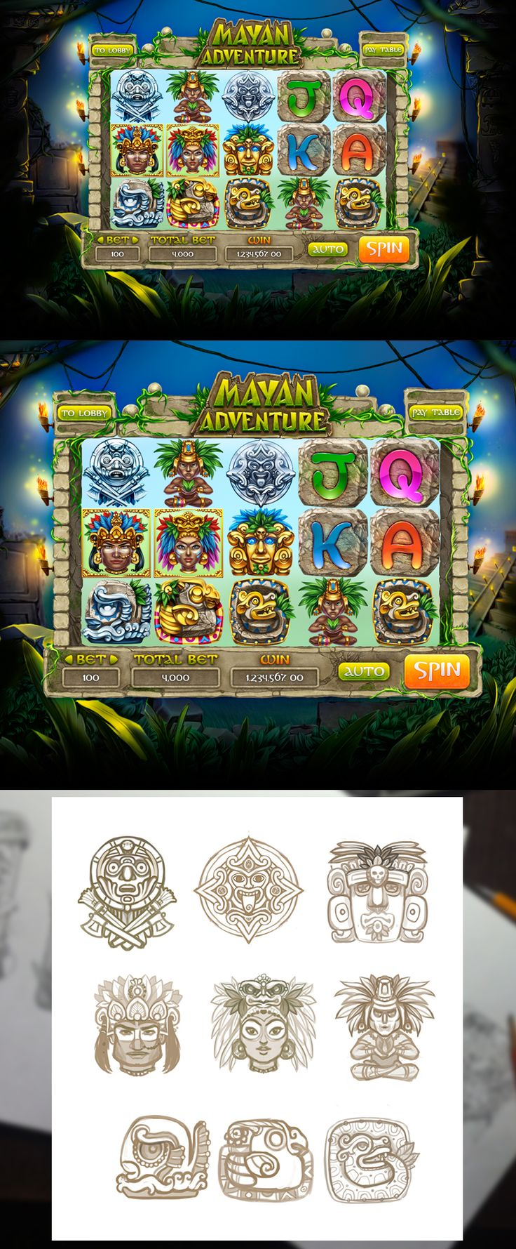 "Graphic design of symbols, icons, objects & interface for the game slot-machine ""Mayan Adventure"" All items are developed in the ancient style of Maya. Enjoy! http://slotopaint.com"