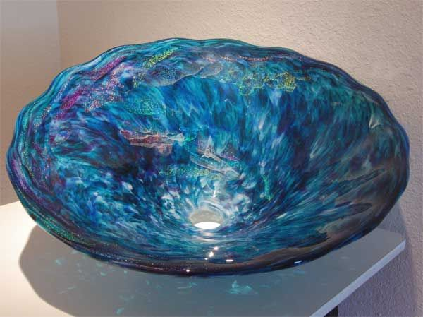 Glass Sink, Vessel Sink, Baptismal Font, Glass Sinks, Glass Vessel Sinks, Hand Blown Glass Sink, Glass Bowl Sink and Glass Pedestal Sink