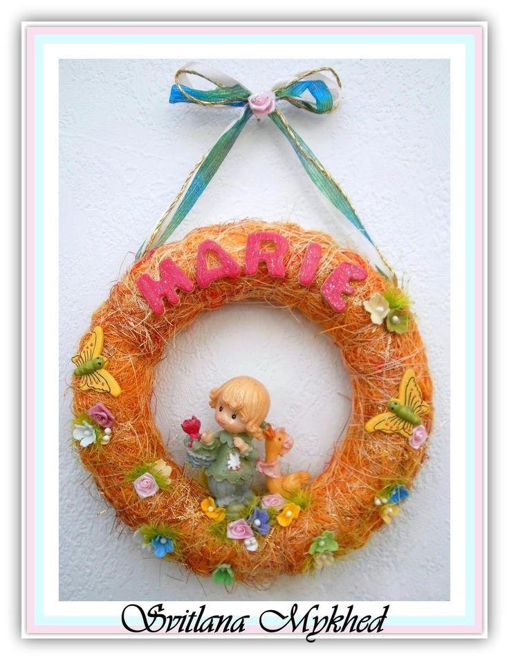 """Couronne avec prenom """"MARIE"""" . Création unique. : Décoration pour enfants par perles-et-couronnes"""