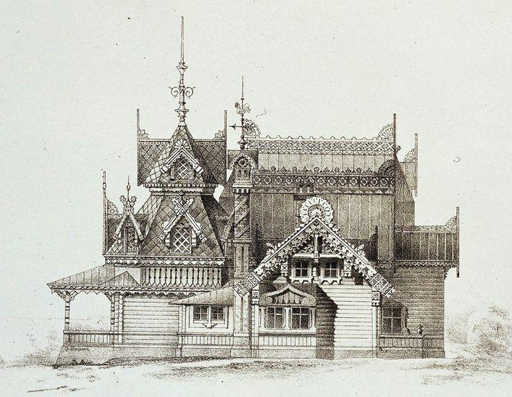 Russian wooden architecture. Pseudo-Russian style. The album The motives of Russian architecture. 1875