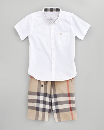 Mini Fred Shirt & Exploded Check Shorts by Burberry at Neiman Marcus.