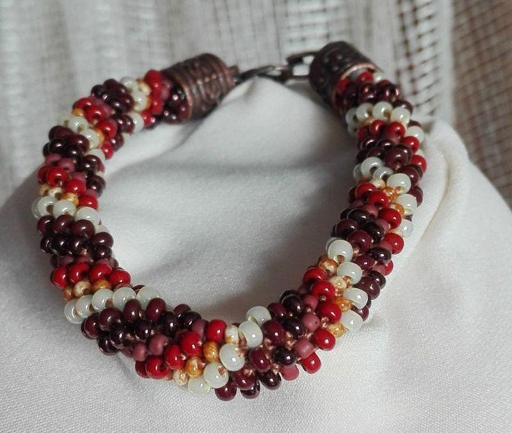 Brown Beauty, Bracelet, Beaded Rope Bracelet, Crochet Bead Bracelet by IMAGINARIUM2015 on Etsy