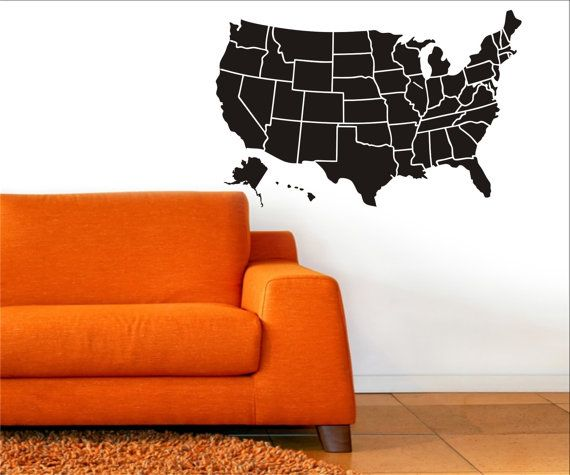 MAP OF USA Vinyl Decal  Map of the United States by loladecor, $38.00