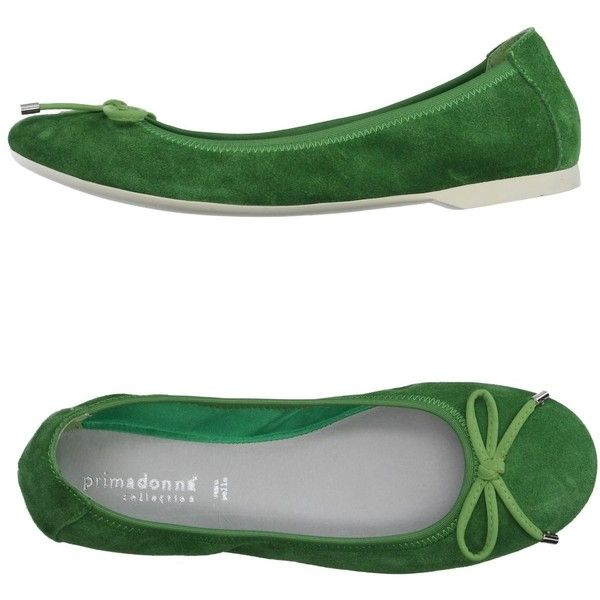 Primadonna Ballet Flats ($33) ❤ liked on Polyvore featuring shoes, flats, green, ballet pumps, bow ballet flats, leather flats, flat shoes and ballet flats