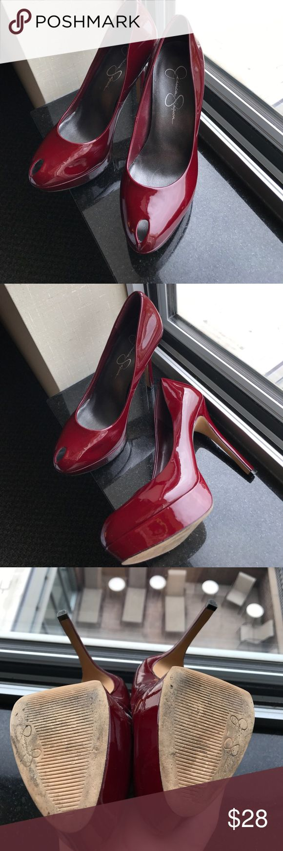 Jessica Simpson red peep toe heels Peep toe red heels 👠 by jessica Simpson   Size 6 Jessica Simpson Shoes