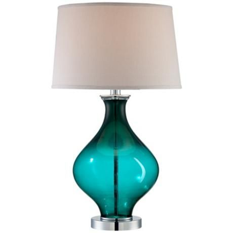 A perfect fit with the peacock trend, this clear blue glass decanter lamp has a contemporary coastal chic vibe. From http://www.lampsplus.com/products/teal-blue-glass-decanter-table-lamp__t4352.html Teal lamp