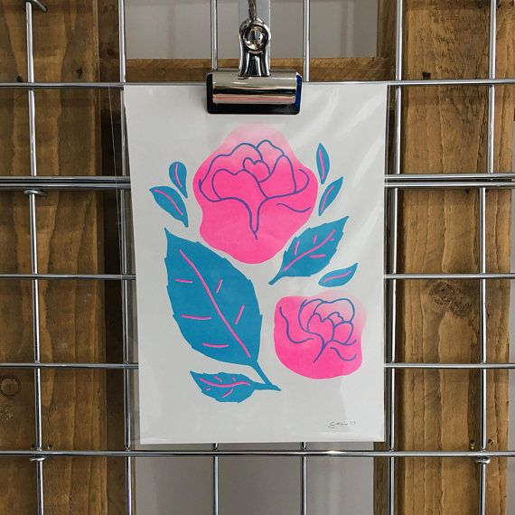 Rose Garden riso print