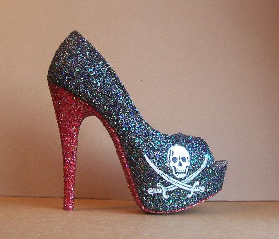Hey, I found this really awesome Etsy listing at http://www.etsy.com/listing/129212535/jolly-roger-pirate-glitter-high-heels