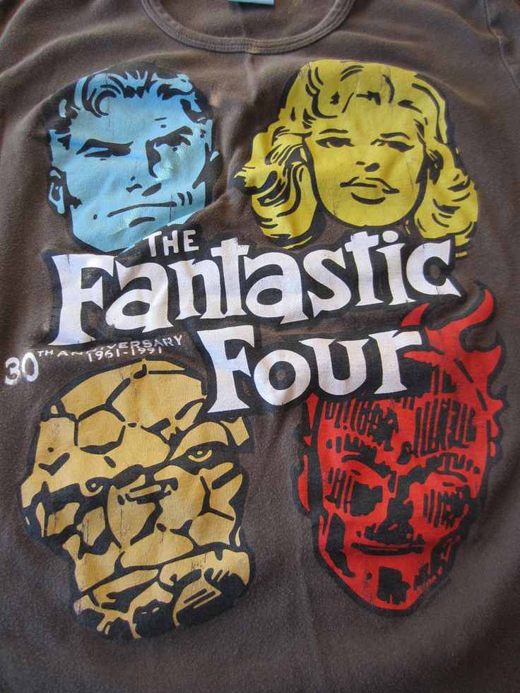 The Fantastic Four Womens Medium Graphic Tshirt Brown 30th Anniversary Marvel