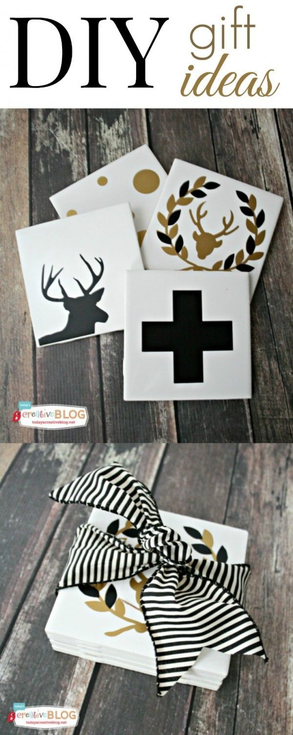 DIY Gift Ideas| Coasters | Create holiday minimalist coasters from a simple bathroom tile and a vinyl cutting machine! The possibilities are endless! See a full tutorial on TodaysCreativeLife.com