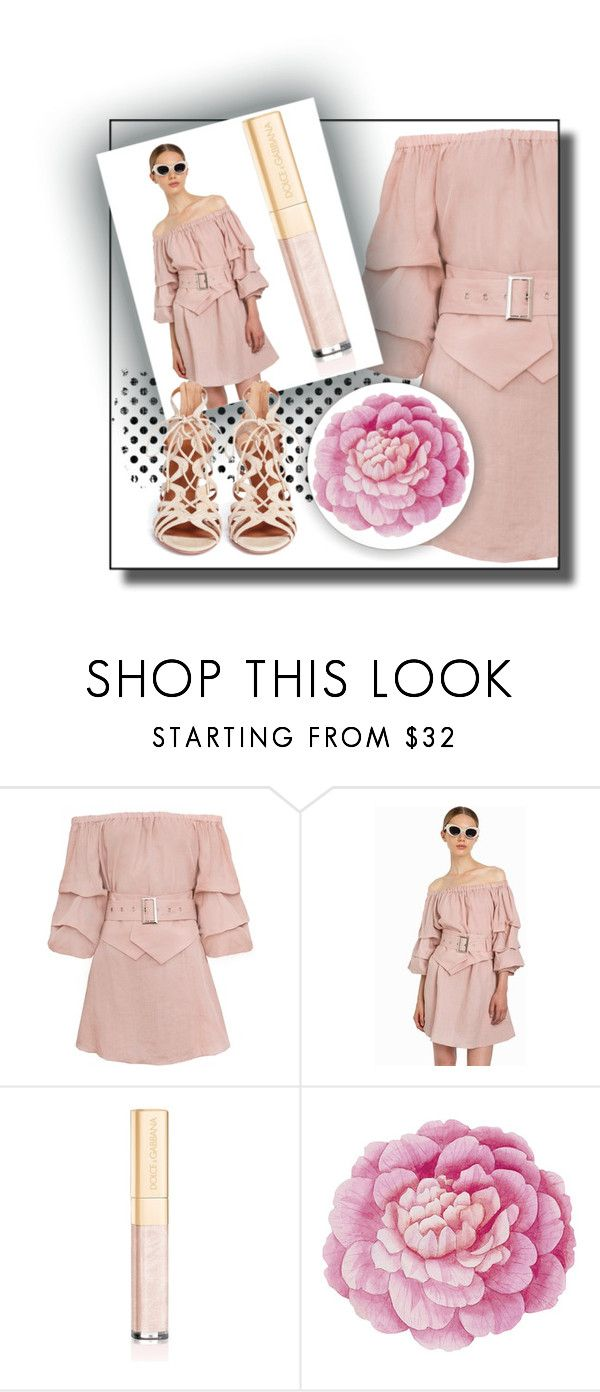 """""""Pink Sleeveless Dress"""" by rose-chan-needs-a-life ❤ liked on Polyvore featuring Dolce&Gabbana, Ballard Designs and Aquazzura"""