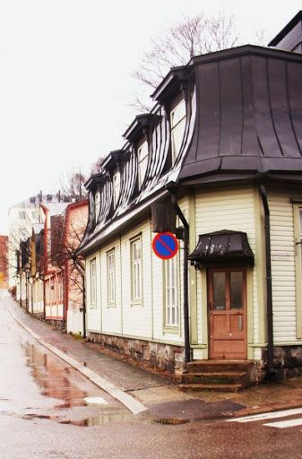 The area of old wooden houses in Vallila, Helsinki.