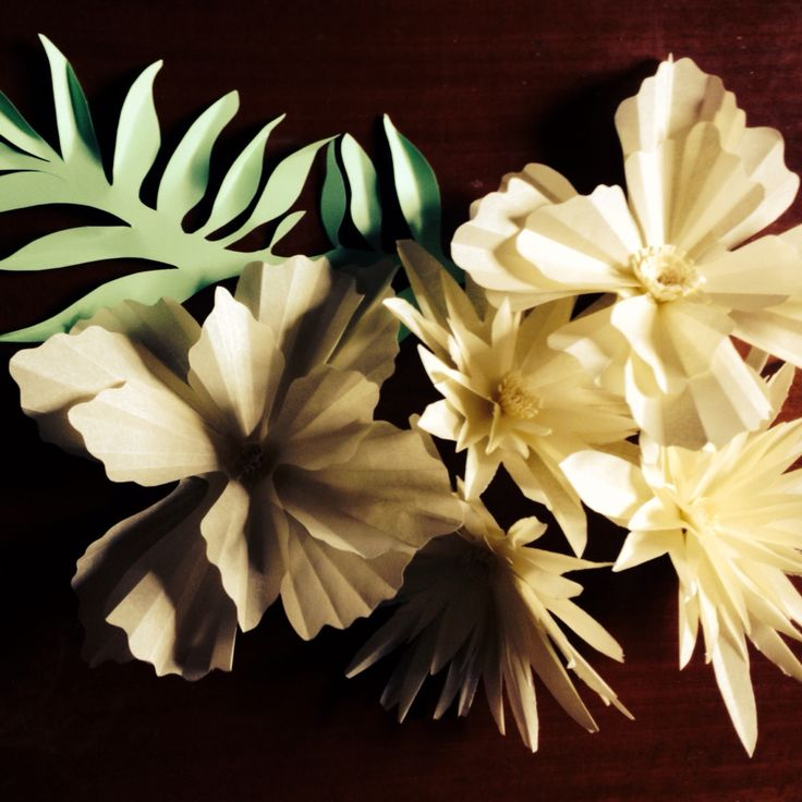 Pergamen flowers for a table centerpiece