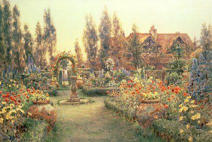 Vue d un pays maison et le jardin de Ernest Arthur Rowe (1863-1922, United Kingdom)