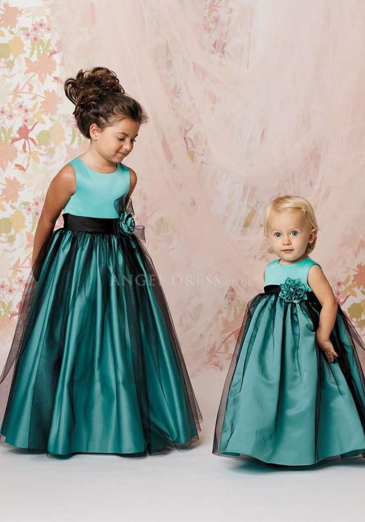 Glamorous A line Tulle & Satin Jewel Floor Length Flower Girl Dresses