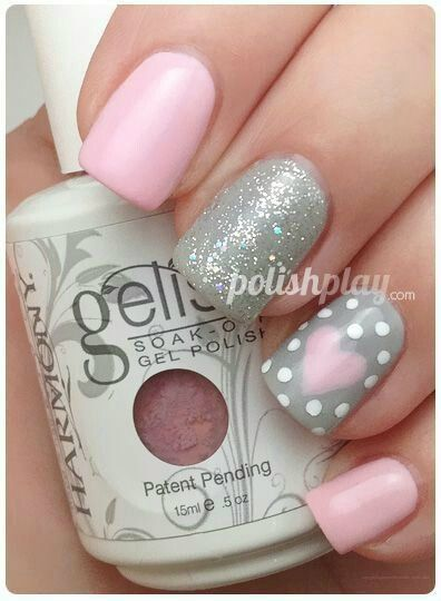 Nail Designs. Pink, gray & white glittery heart combination. DIY ideas for Valentine's day nail polish.