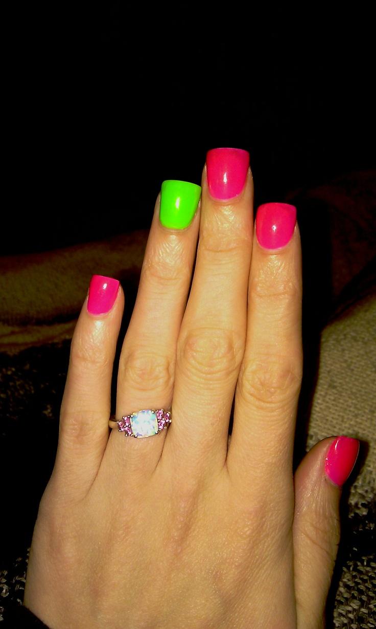 hot pink and green nails
