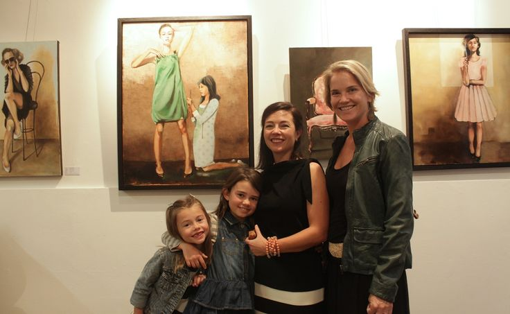 The artist Mila Posthumus, her children and Nell Harris at the opening of #TellMeAStory at #StateoftheART