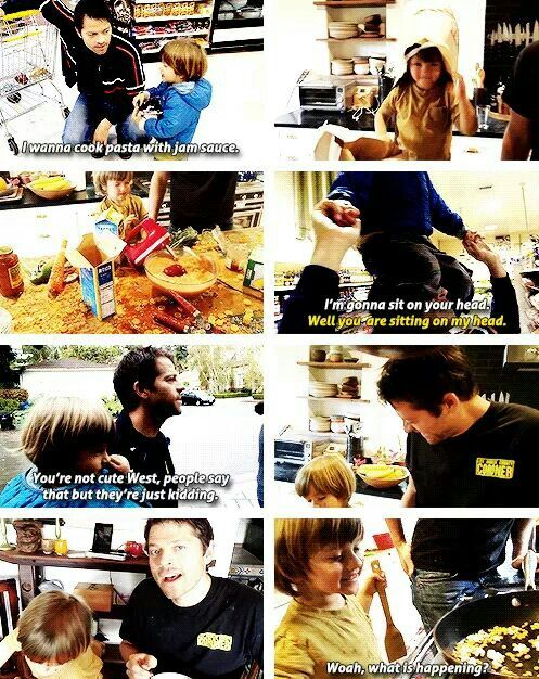"""Misha Collins gives his toddler a """"cooking show"""" on Youtube so he can be like his dad... so adorable"""