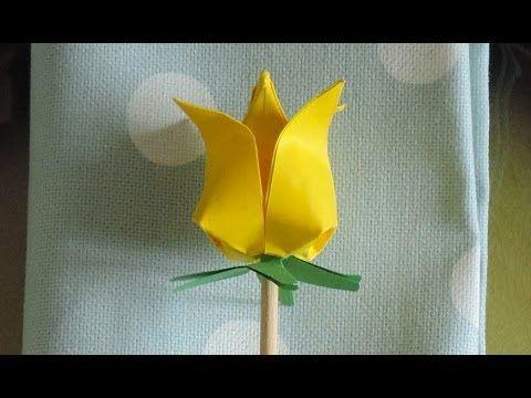 Tutorial: Come realizzare un tulipano origami segnaposto di primavera - La Figurina - YouTube