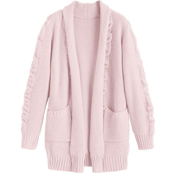Shawl Collar Cable Knit Cardigan (97 PEN) ❤ liked on Polyvore featuring tops, cardigans, zaful, cable shawl collar cardigan, pink top, shawl collar cardigans, pink cardigan and cardigan top
